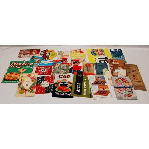 87 - A collection of vintage advertsing FOOD related CARDS including -  OXO, Borwicks, Cadbury x 3, Birds...