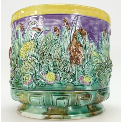 272 - 19th century large Majolica Jardiniere decorated with leaping frogs and cranes in marshlands, height...