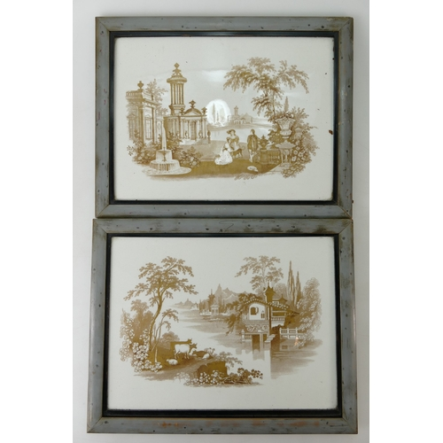 274 - Pair 19th century rectangular earthenware plaques decorated with gilded country house scenes, 30 x 2...
