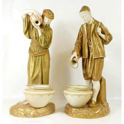 282 - 19th Century Large Blush Ivory Worcester Water carrier figures, pair, Puce mark to base, height 42cm...