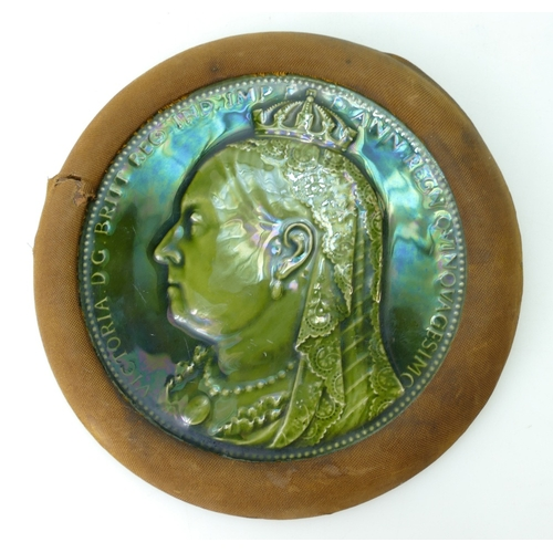 285 - Minton Majolica circular plaque depicting Queen Victoria in material and wood frame, overall diamete...