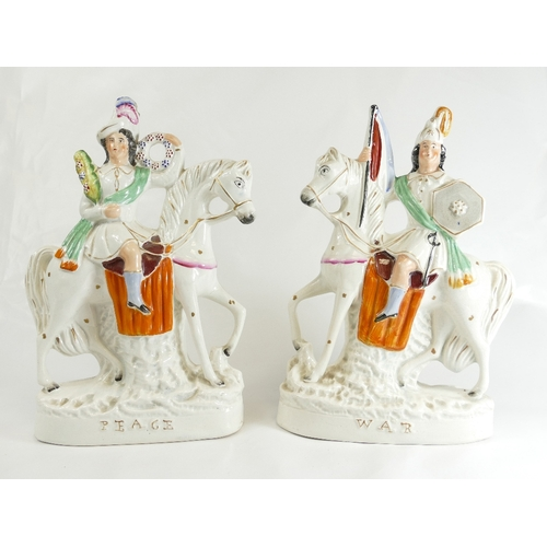 321 - War and Peace pair of Staffordshire figures. 30cm. (2)...
