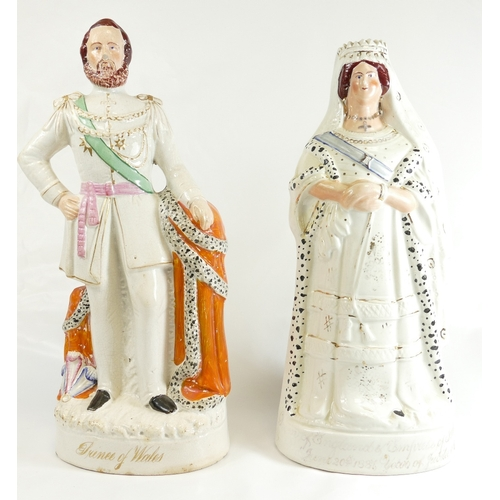 334 - Large Staffordshire figure Prince of Wales, 45cm & Queen Victoria, chips to base 43cm (2)...