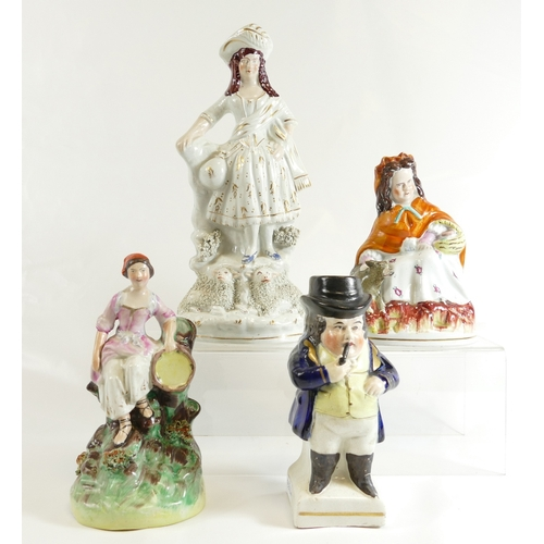 341 - Four Staffordshire figures including; Red Riding Hood, (chip to base), Shepherdess & sheep, girl wit...