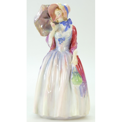 385 - Royal Doulton figure Miss Demure HN1560 in red & blue colourway, impressed date 1932...