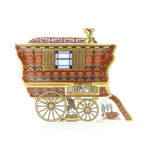 467 - Royal Crown Derby paperweight Gypsy Caravan The Ledge Wagon, limited edition for Goviers, with gold ...