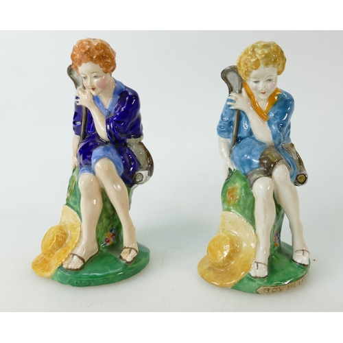 474 - Two Crown Staffordshire figures Little Boy Blue, two examples in different colourways (2)...