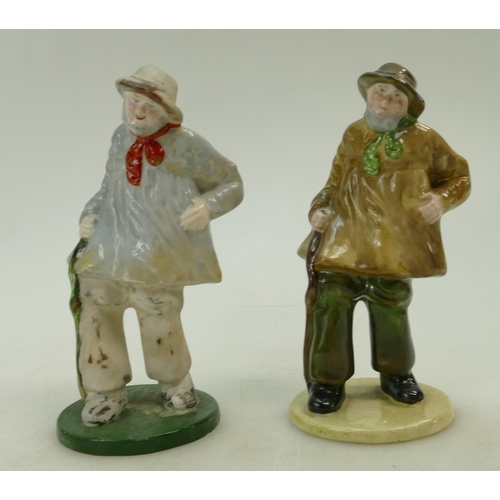 484 - Two Crown Staffordshire figures of a Village Yokel in two different colourways (2)...