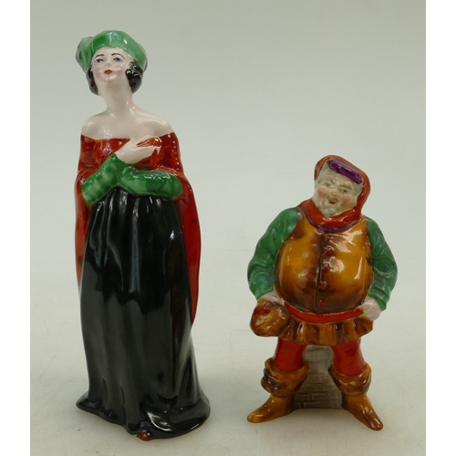 486 - A Crown Staffordshire figure of a Lady in a medieval dress together with Falstaff (2)...
