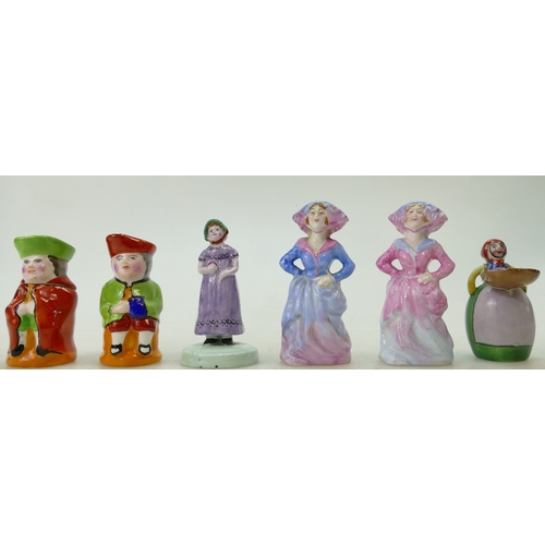 488 - A group of Crown Staffordshire small figures to include Toby cruets (one with a spoon), two doll fig...