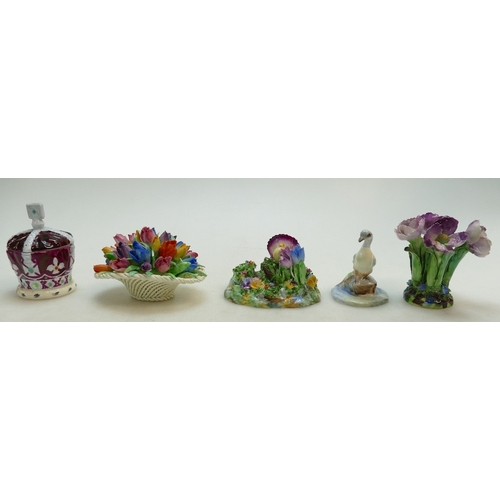 490 - A Crown Staffordshire Coronation Crown Powder Bowl, models of flowers, a tulip basket and a duck. (S...