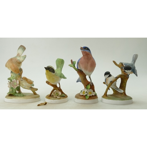 495 - A small collection of Crown Staffordshire birds to include a Blue Bird, Chickadee, Flycatcher and a ...