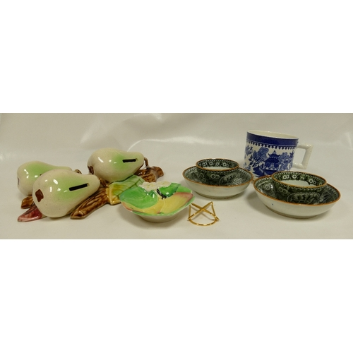 225 - A collection of various pottery to include a pair of early tea bowls and covers, Majolica wall plaqu...