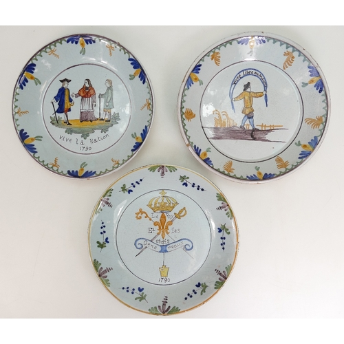 234 - Three early tin glazed Quimper Brittany dishes with nationalist mottos. (3)...