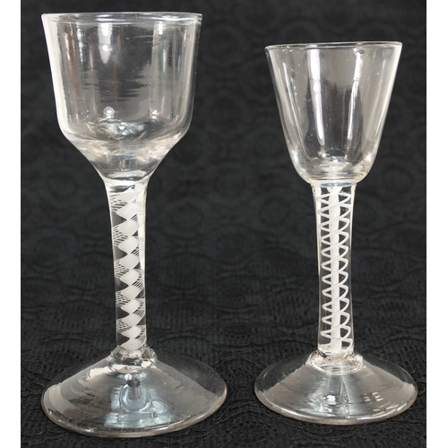 236 - 18th century high funnel / bowl WINE GLASS set on opaque twist stem, together with smaller similar i...