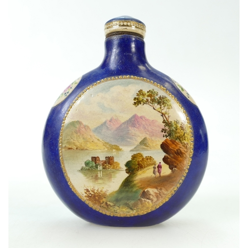 251 - Staffordshire hand painted FLASK signed John Bailey 19th century.  11.5cm high. Screw top....