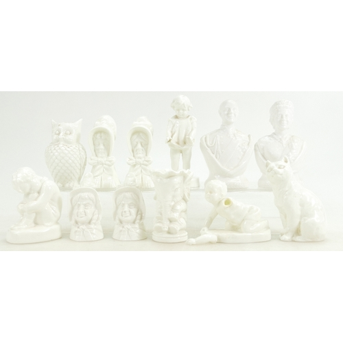 279 - Twelve Royal Worcester small figures and candle snuffers, all in white including Elephant jug, Owl p...