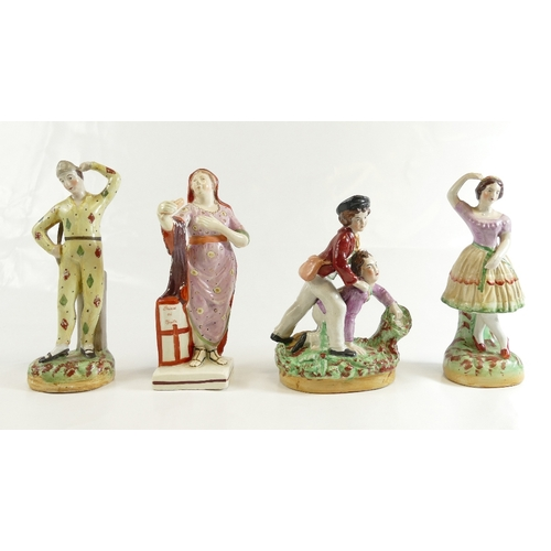 340 - Four Staffordshire figures including; Shield of Faith, Harlequin, dancing girls & boys fighting, 15....