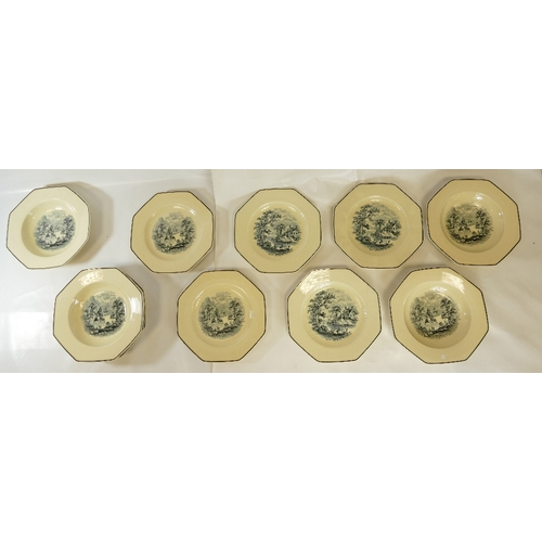 351 - A set of 6 Royal Doulton 1920s octagonal plates decorated with mountain and valley scenery (one chip...