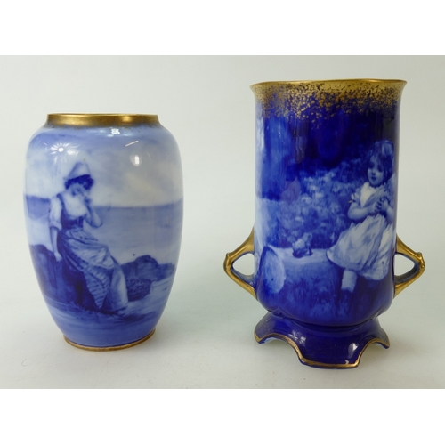 361 - Royal Doulton two handled vase decorated with blue & white scenes of a small girl holding a dolly an...