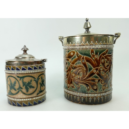 367 - Doulton Lambeth biscuit barrel decorated all around with scrolling foliage, with silver plated handl...