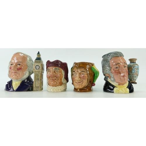 437 - Royal Doulton small character jug The Jester D5556, John Doulton D6656, Simon the Cellarer D5616 and...
