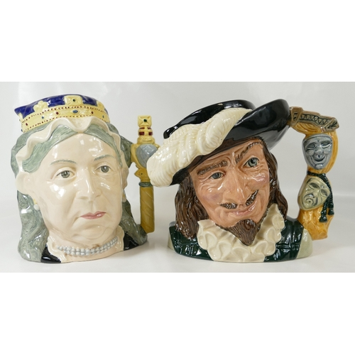 446 - Two large Royal Doulton jugs Scaramouche D6774 and Queen Victoria D6788. Both special Editions and b...
