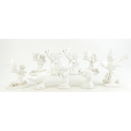 503 - Six white glazed Crown Staffordshire birds by J T Jones and three white animal studies (9)...