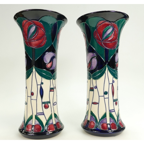 517 - Moorcroft Mackintosh design Pair of Vases, height 26cm, boxed (2)...