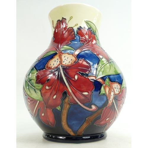 518 - Moorcroft Simeon design vase, height 14cm, silver stripe to base (1)...