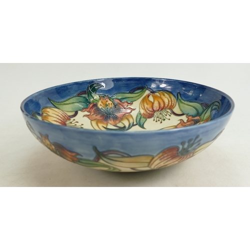 522 - Moorcroft Anna Lily design large footed bowl (silver line to base), diameter 26cm...