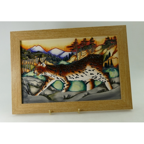 524A - Moorcroft Lynx Revealed Plaque, signed by designer Kerry Goodwin. Limited Edition 47/100. 1st in qua...