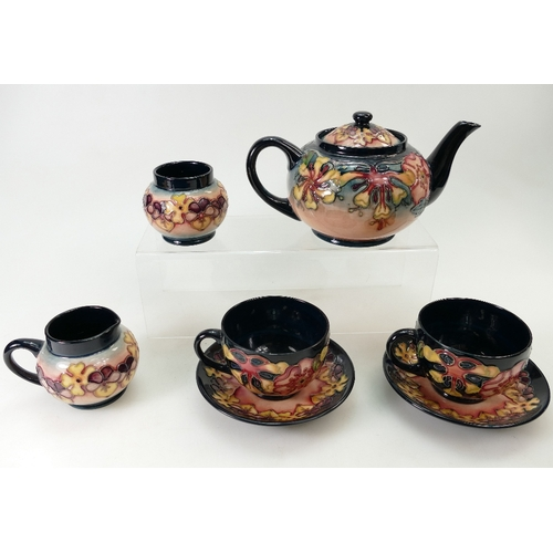 530 - Moorcroft Teaset decorated in the Oberon design dated 1993, comprising teapot, sugar, milk jug and t...
