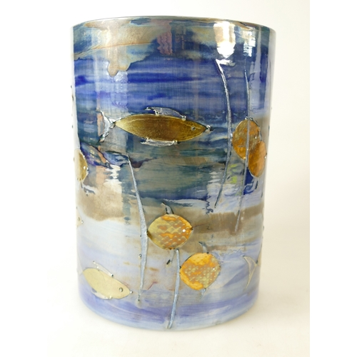 553 - Lise B Moorcroft studio cylinder vase decorated in a graphic fish gilt metal & crystal design, dated...