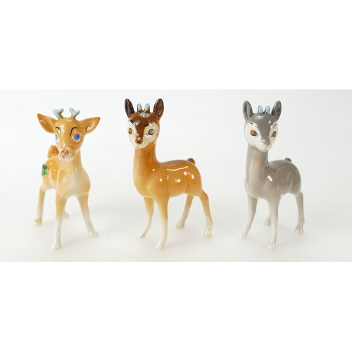 581 - Beswick Chamois, two fawn and one grey 1551 (3)...