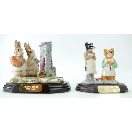 588 - Beswick Beatrix Potter Tableau figure Hiding from the Cat, limited edition with base and certificate...