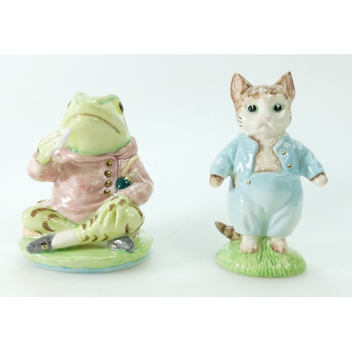 589 - Beswick Beatrix Potter large BP9 figures with gold highlights Tom Kitten and Jeremy Fisher with cert...