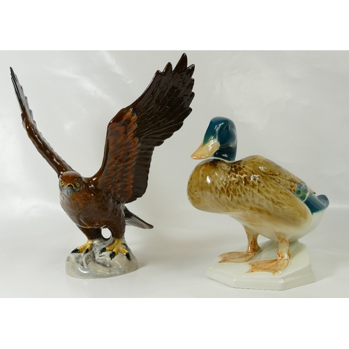598 - Beswick model of a Mallard Duck squatting 817 together with a Beswick Golden Eagle 2060 (2)...