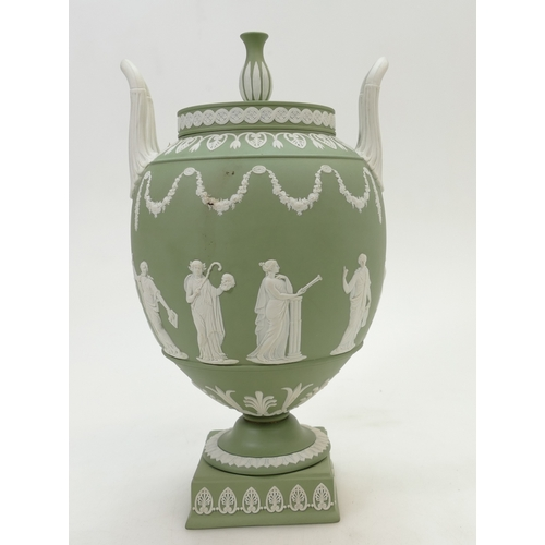 633 - Wedgwood green Jasperware two handled vase and cover, height 30cm...