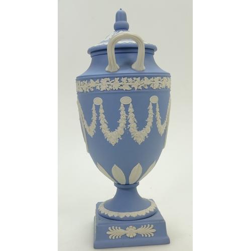 634 - Wedgwood blue Jasperware two handled vase and cover, height 30cm...