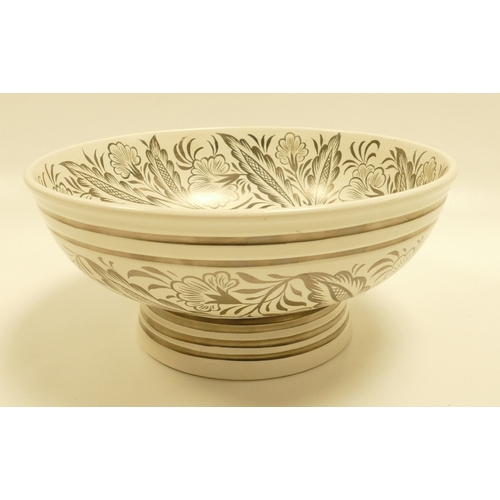 638 - Wedgwood footed bowl designed by Keith Murray and Millicent Taplin decorated with silver lustred dec...