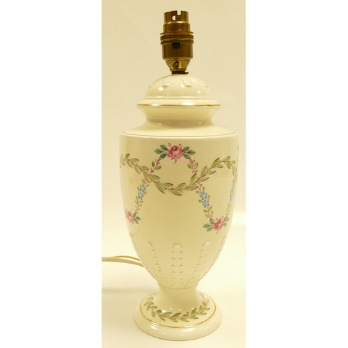 639 - Wedgwood Queensware lamp base handpainted with garlands of roses and leaves, height of pottery 26cm ...
