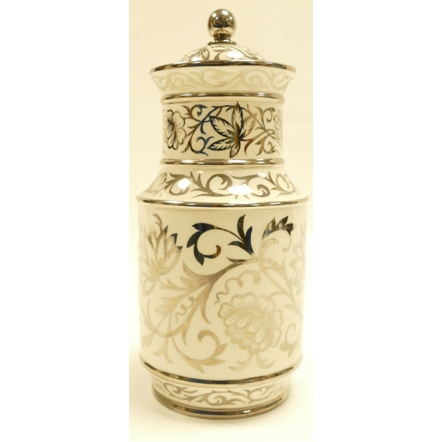 644 - Wedgwood vase & cover decorated with silver lustre decoration of swirling flowers, leaves and design...