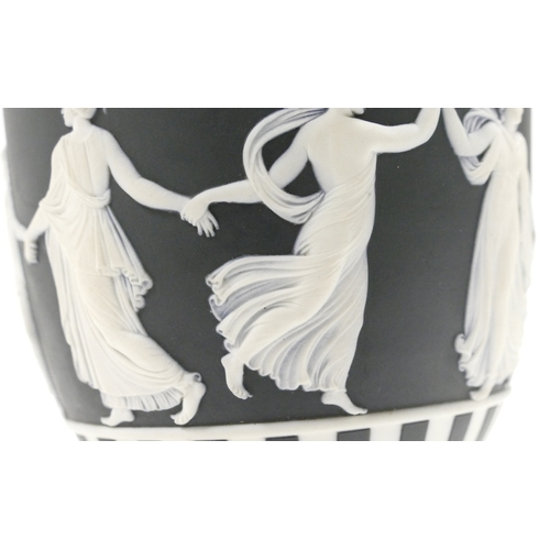 645 - Wedgwood black & white Jasperware vase & cover decorated with fine dancing hours decoration, inside ...