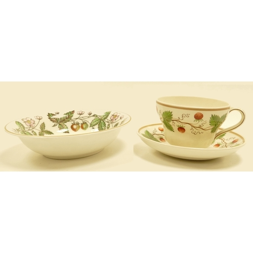 653 - Wedgwood earthenware cup & saucer handpainted with an early version of the wild strawberry design, i...