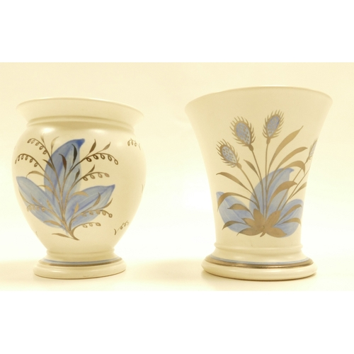 655 - Wedgwood small vase decorated with matt silver lustre decorations of swirling blue flowers and desig...