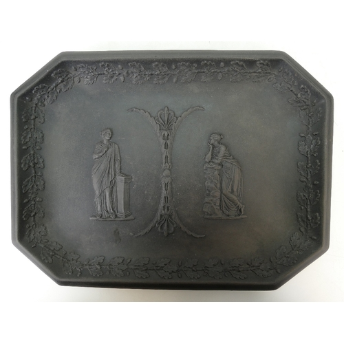 658 - Wedgwood early Black Basalt tray decorated with classical scenes with oak leaf border, 26 x 19.5cm...