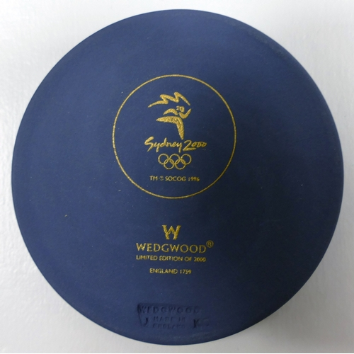 659 - Wedgwood Blue Jasper Basalt circular OLYMPIC MEDALLION, issued in limited edition of 2000 to commemo...