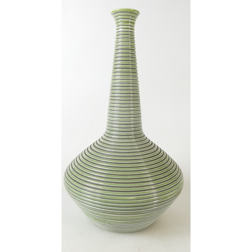 669 - Wedgwood green & grey ribbed studio vase by Norman Wilson, impressed and printed marks, height 26cm...