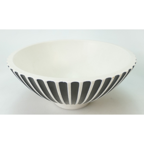 674 - Wedgwood studio footed bowl with ribbed decoration in black & white colours by Norman Wilson, impres...